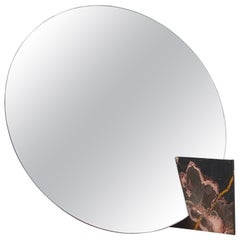 Autem Circle Table Mirror in Marble & Mirrored Glass, Contemporary Vanity Mirror