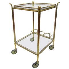 French 1950s Square Brass and Glass Cocktail Trolley