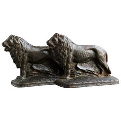 Pair of Cast Iron Lions Bookends, circa 1920s