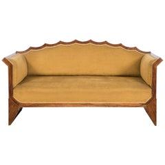 Austrian Art Deco Black Walnut Veneered Barrel Back Sofa, 1930s