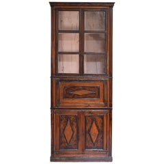 Spanish Grain Painted Tall Secretary Bookcase, Second Half of the 19th Century