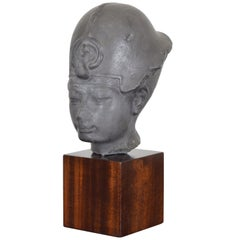 Pewter Bust of Queen Nefertiti of Egypt on Macassar Wood Pedestal