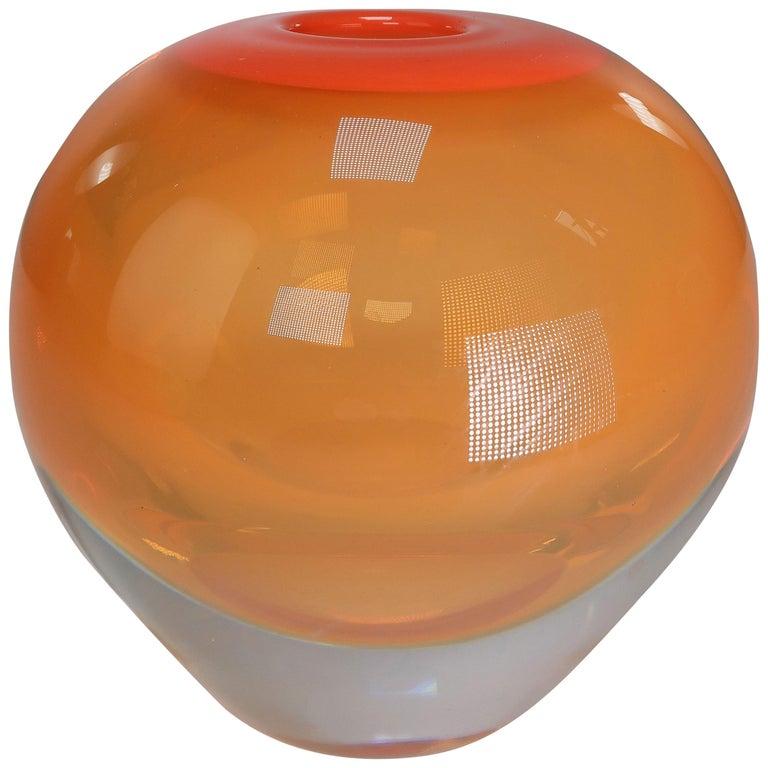 Orange One-of-a-Kind Danish Modern Solid Art Glass Vase by Holmegaard, 1960s