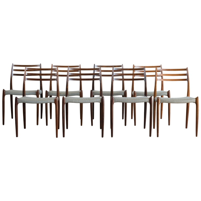 Niels O. Møller Set of Eight Rosewood Chairs