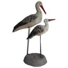 Vintage French Concrete Shore Birds