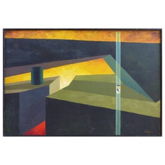 1950s Hard-Edge Abstract Cityscape Painting by Angelo Gepponi