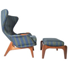 Adrian Pearsall Wingback Peacock Lounge Chair 2231-C and Ottoman