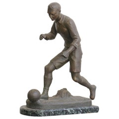 Marble and Bronze Footballer Statue, circa 1920s