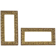 Pair of Small Italian Rococo Style Gilt Gesso Frames, Early 20th Century