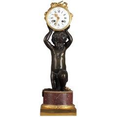 E. Hazart, Patinated and Gilded Bronze Clock