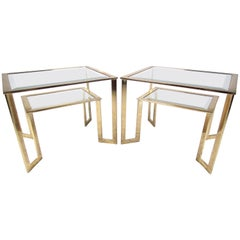 Pair of Modern Brass Two-Tier End Tables