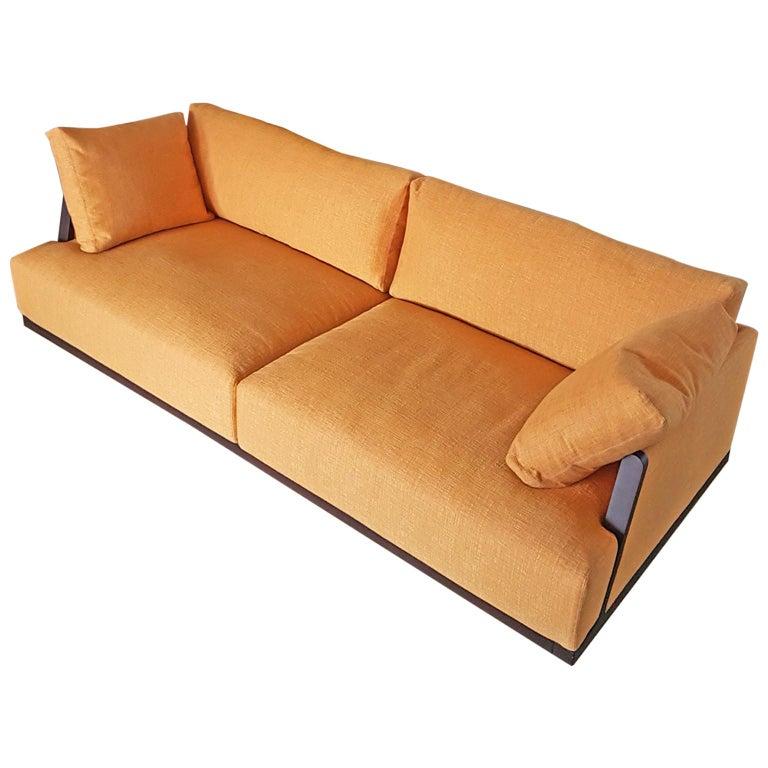 Italian Orange, Yellow Silk Fabric Sofa with Frame in Wood and Down Cushions