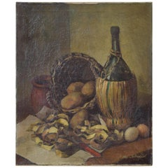 Oil on Canvas, Still Life with Wine Bottle, Signed Islendaal, circa 1965