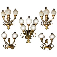 "Amazing Set Five Sconces ""Reticello"" by Seguso, Murano, 1950s"