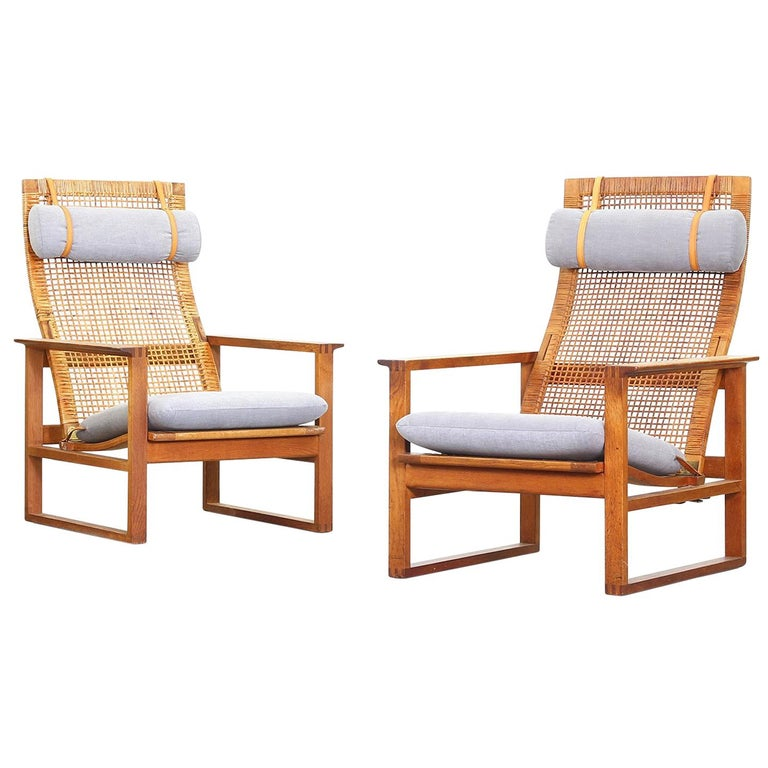 Set of Rare Lounge Chairs by Borge Mogensen for Fredericia