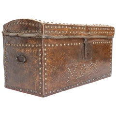 French 19th Century Studded Leather Covered Wood Trunk
