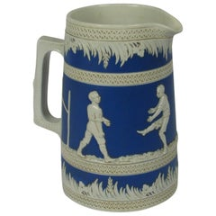 Copeland Late Spode Football Blue and White Ceramic Pitcher