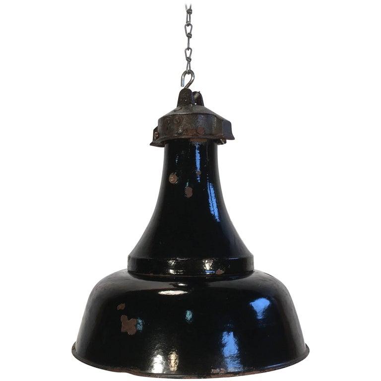 Industrial Black Enamel Bauhaus Lamp, 1920s