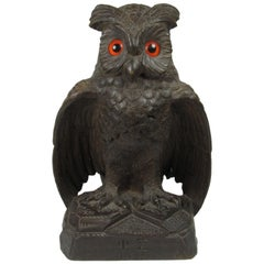 Black Forest Folk Art Carved Owl with Glass Eyes Signed Phi Sigma, 1927