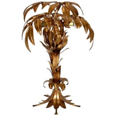 Golden Palm Tree Table Lamp by Hans Kögl, 1970s, Germany
