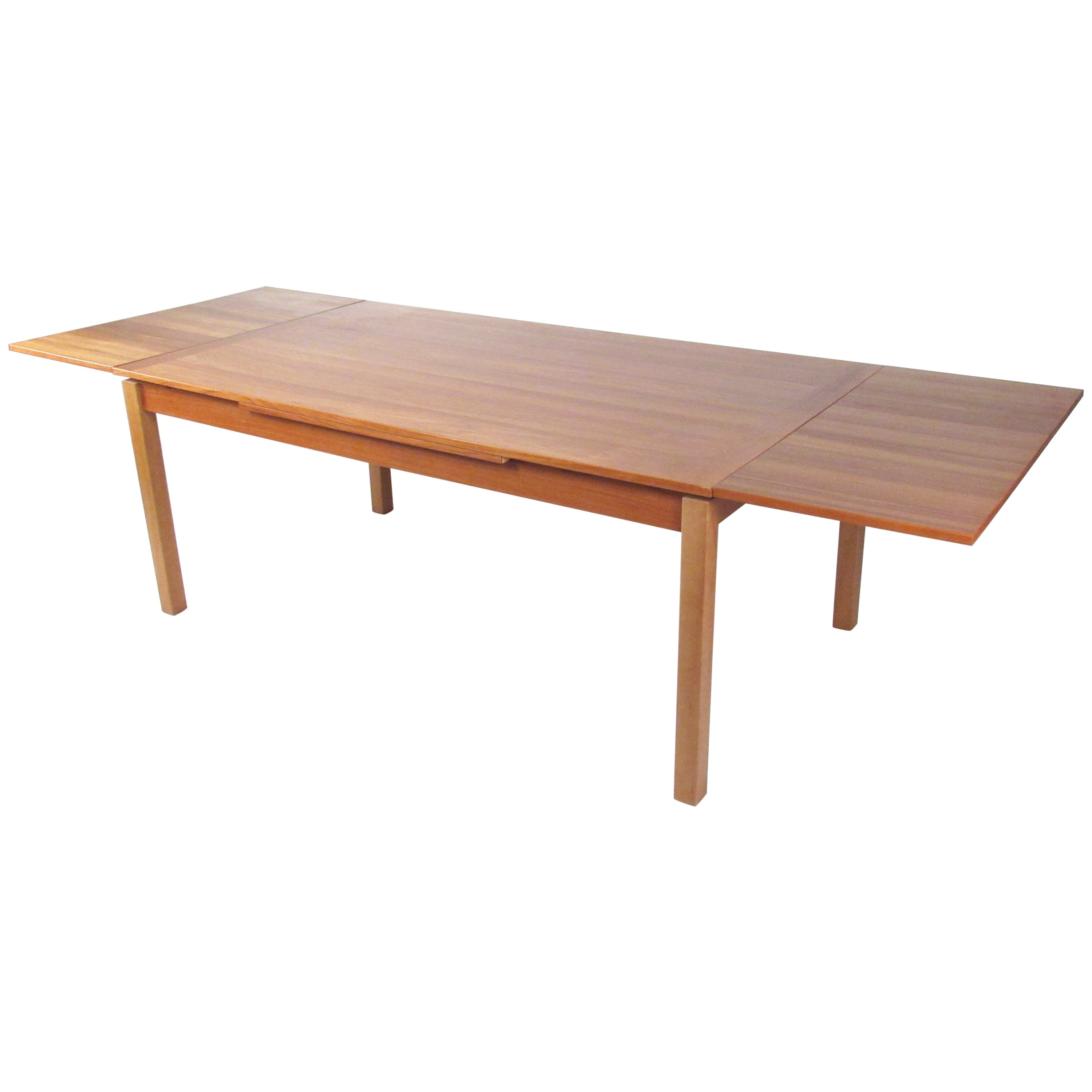 Scandinavian Modern Teak Dining Table with Draw Leaf Extension