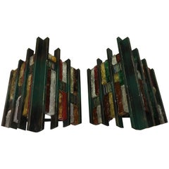 Set of Two Brutalist Wall Sconces, Italy, circa 1970
