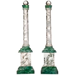 Pair of Art Deco Style Rock Crystal Obelisks