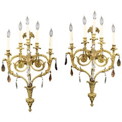 Fine Pair of Late 19th Century Gilt Bronze and French Crystal Five-Light Sconces