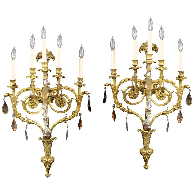 Fine Pair of Late 19th Century Gilt Bronze and French Crystal Five-Light Sconces For Sale