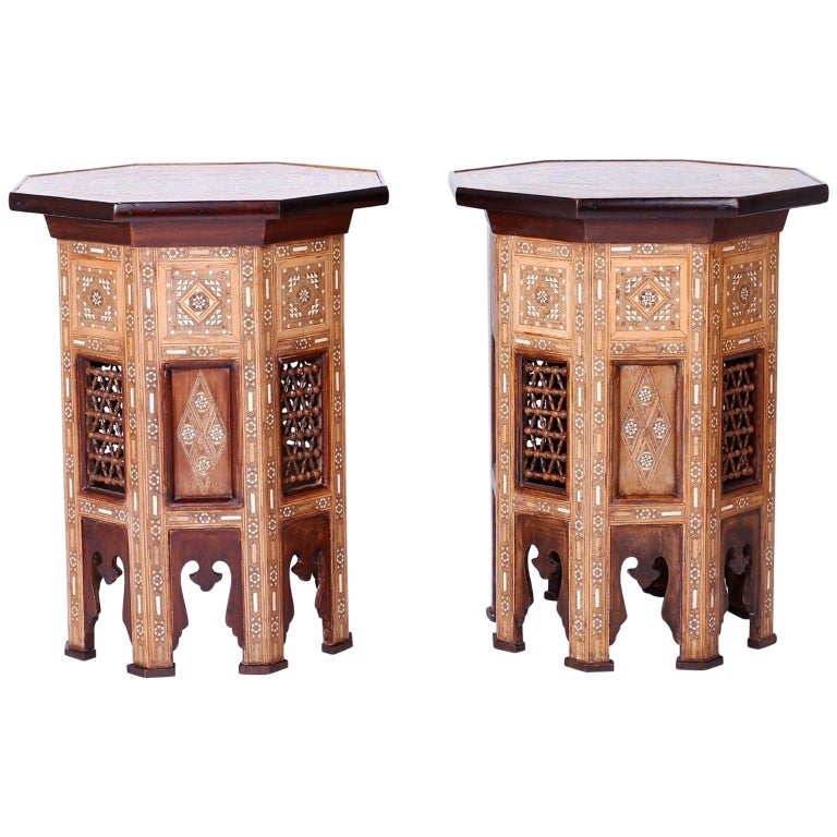 Pair of Antique Inlaid Syrian Side Tables