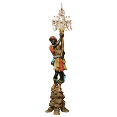 Early 20th Century Italian Carved Polychrome Crystal Blackamoor Floor Lamp