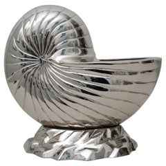 Nickle-Plated Nautilus Shell Cachepot