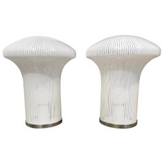 Pair of Mid Century Modern Italian Murano Glass Mushroom Lamps by Venini