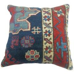 Navy Blue Persian Heriz Rug Pillow