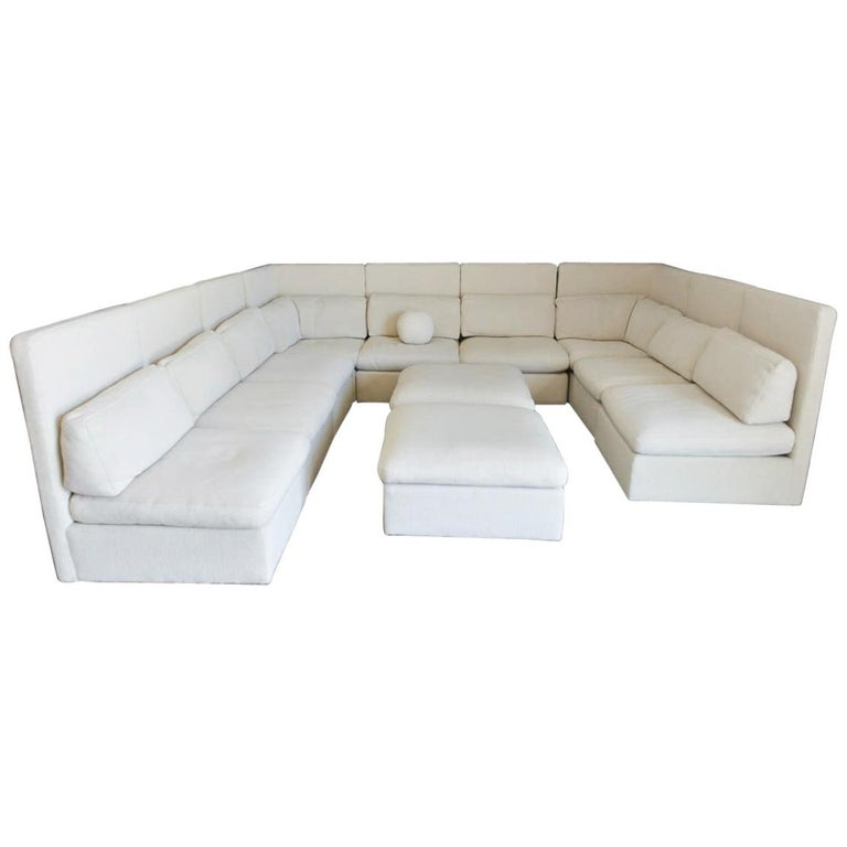 Sectional High Back Sofa by Milo Baughman for Thayer Coggin, 1976 For Sale