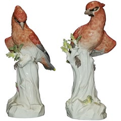 Pair of Meissen Porcelain Figures of Waxwing, Att. J.J. Kändler and J.G. Ehder