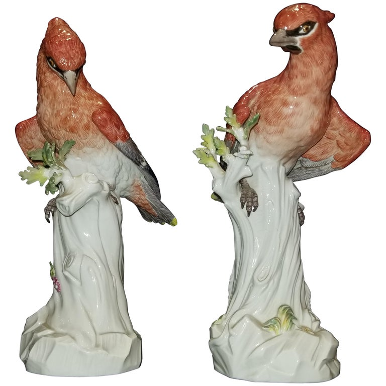 Pair of Meissen Porcelain Figures of Waxwing, Att. J.J. Kändler and J.G. Ehder