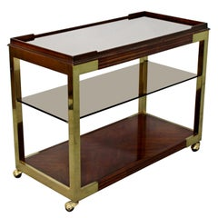 Mid-Century Modern Drexel Heritage Brass Wood Smoked Glass Two-Tier Bar Cart
