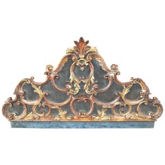 Carved Venetian or Italian Giltwood Headboard in Rococo Style