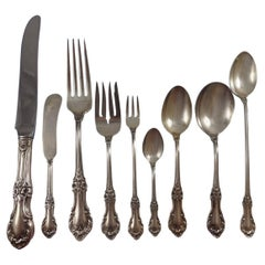Wild Rose International Sterling Silver Flatware Service Eight Set 76 Pcs Dinner