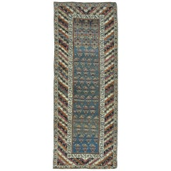 Antique Hand-Knotted Caucasian Genjeh Runner Rug