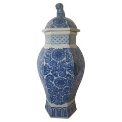 Reproduction Chinese Blue and White Pottery Container with a Fu Dog Topped Lid