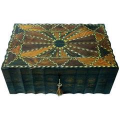 19th Century Anglo Ceylonese Coromandel Stationary Box with Specimen Wood Inlays