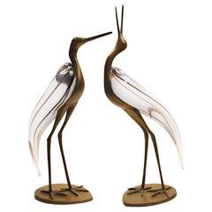 Luca Bojola Pair of Herons Florence Cast Brass Murano Licio Zanetti Glass, 1980s