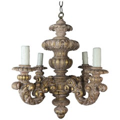French Louis XV Style Painted and Parcel-Gilt Chandelier