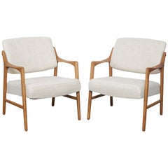 Pair of Swedish Solid Oak Chairs by Inge Andersson for Bröderna Andersson