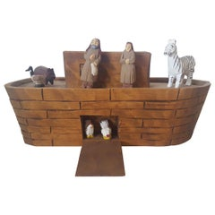 Wooden Model or Toy, of Noah's Ark, with Noah, His Wife Naamah, and Some Animals