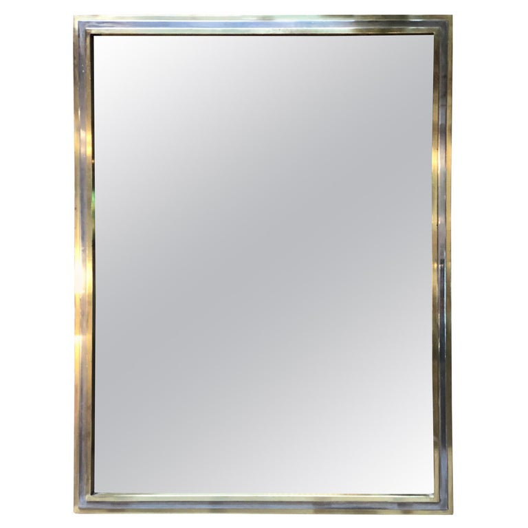 Italian Brass and Chrome Wall Mirror Attributed to Willy Rizzo, 1970s