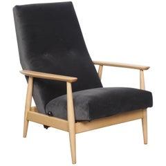 1950s Midcentury Danish Beech Recliner Chair in Velvet