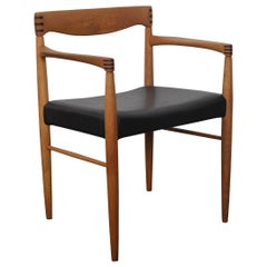 Single Danish H.W. Klein for Bramin Dining Chair with Arms in Oak and Leather